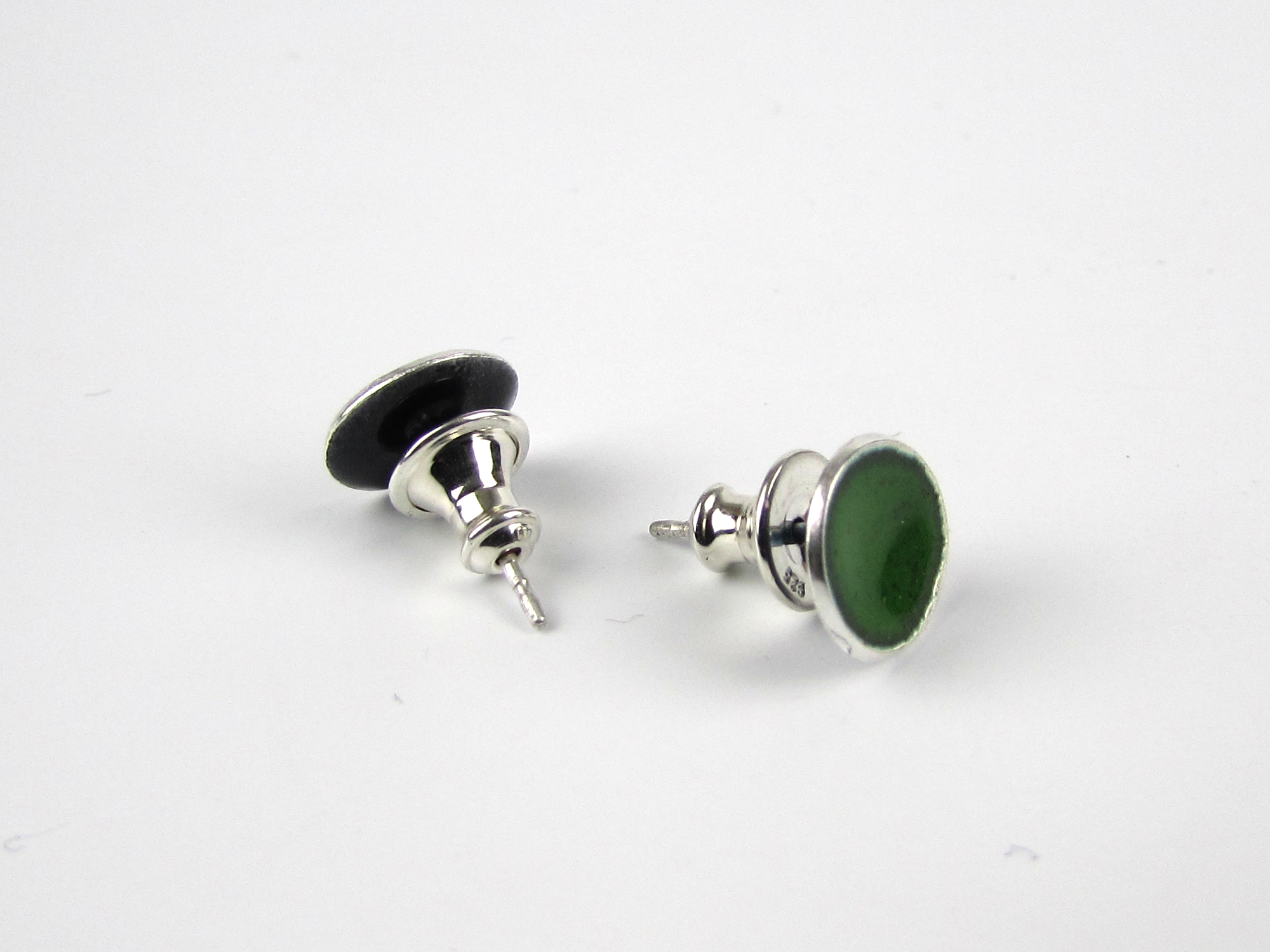 Small Jungle Green Enamel Stud Earrings - Oddbox Studio