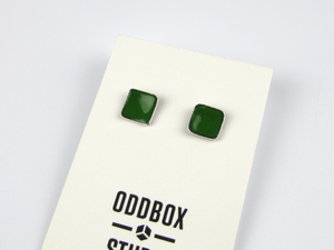 Small Jungle Green Enamel Square Stud Earrings - Oddbox Studio