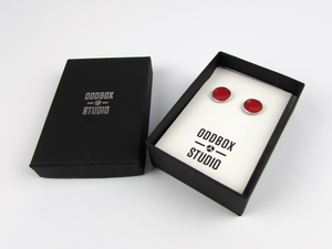 Large Red Enamel Stud Earrings - Oddbox Studio