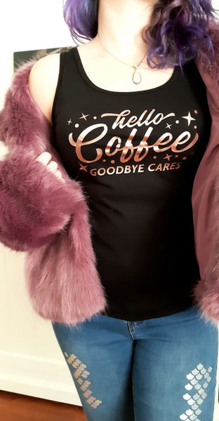 Hello Coffee Singlet in Rose Gold