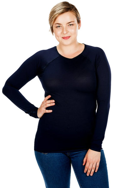 JettProof Sensory Long Sleeve Shirt | Women-XS-Navy-JettProof.com