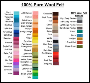 100% Pure Wool Felt - Choose your own colours - 1 square
