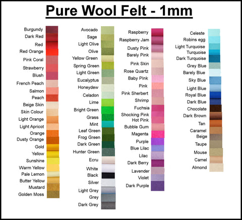 Listing for Kelsey 100% Pure Wool Felt