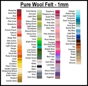 Pure Wool Felt - Choose your own colours - 25cm x 180cm - merino wool - felt supplies
