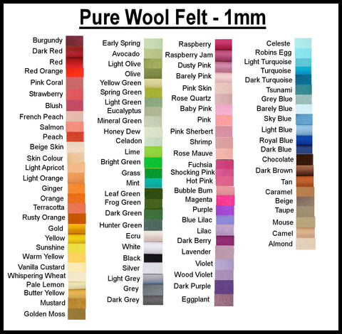 Pure Wool Felt - Choose your own colours - 25cm x 90cm - merino wool - felt supplies