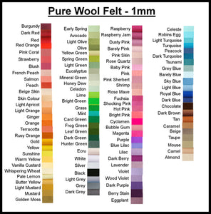 100% Pure Wool Felt - Choose your own colours - 1 metre x 180cm
