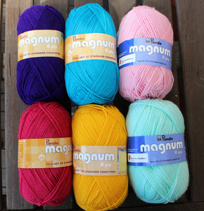 6 x 100g balls Panda Magnum 8ply yarn green, pink, aqua, yellow, dark purple