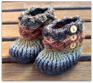 Crocodile Stitch Baby Booties That Stay On - Baby Slippers - Baby Booties - Forest Colours - 6-12 months