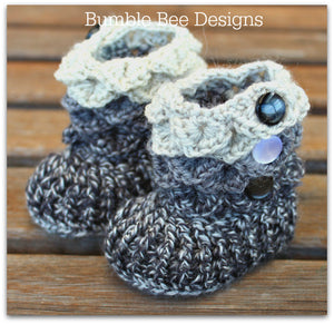 Crocodile Stitch Baby Booties That Stay On, Baby Slippers, New Baby Gift,  Black & Grey fleck Booties