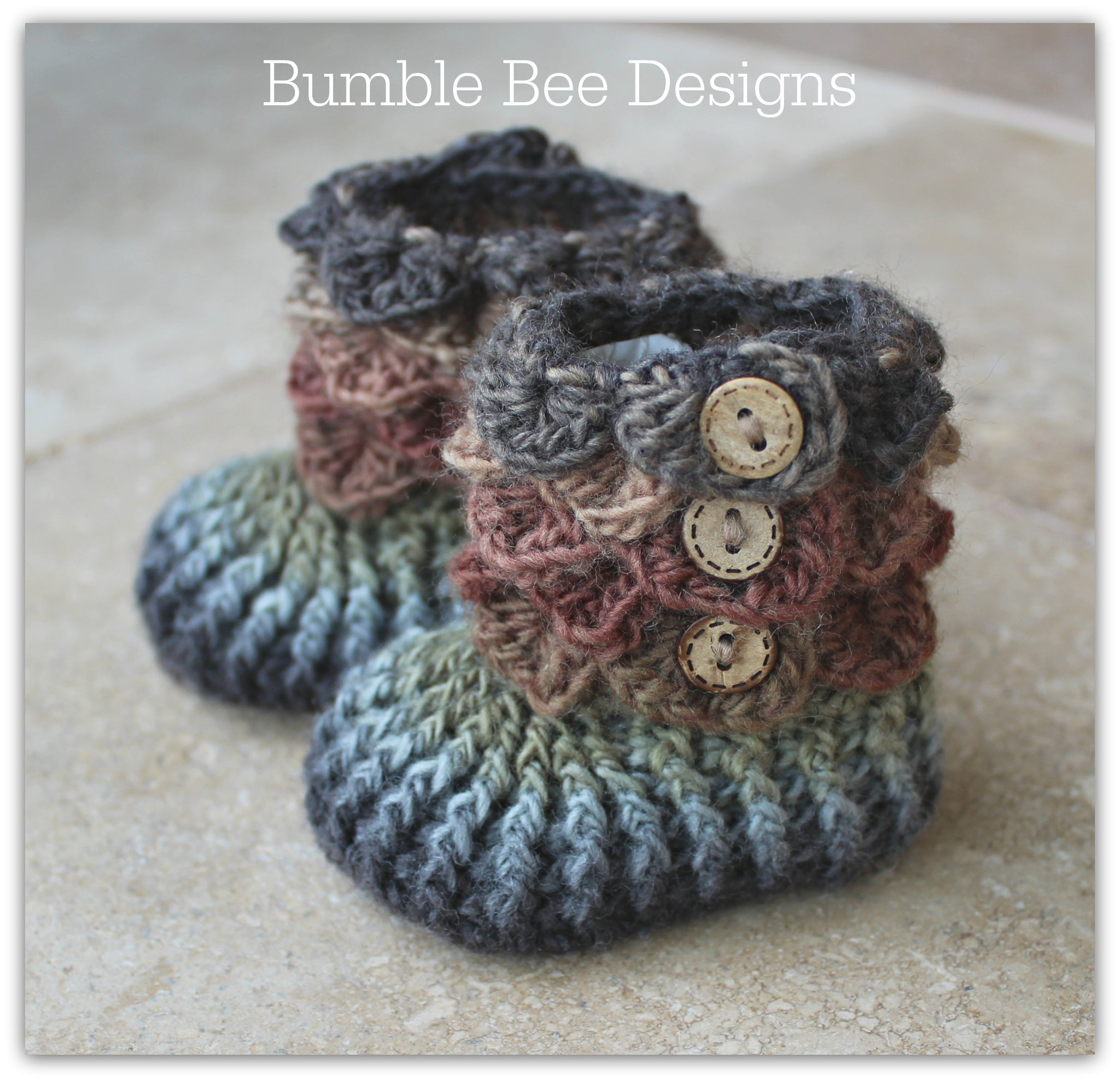 Crocodile Stitch Baby Booties That Stay On, Forest browns and olive, New Baby Gift, Rainbow Booties