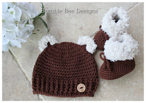 Baby Gift Set, Crochet Beanie and Booties. Australian merino wool, baby beanie, moccasins, teddy bear hat, 0-6 mths, baby shower, Chocolate