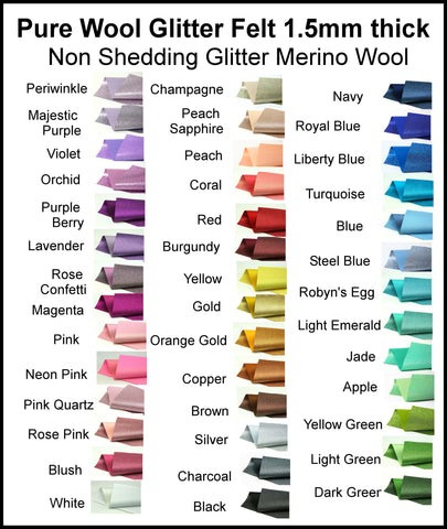 Listing for Renee - GLITTER PURE WOOL FELT - Non Shedding - choose your own colours - 1.5mm