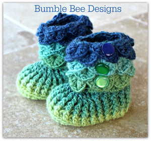 Crocodile Stitch Baby Booties That Stay On,Green & Navy, New Baby Gift, Rainbow Booties