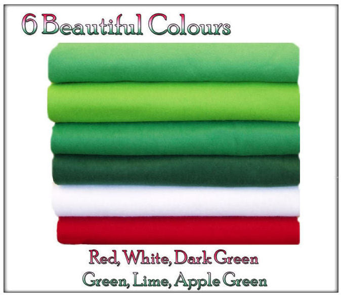 Felt Chemical Free - 12 squares - Green & Red Shades