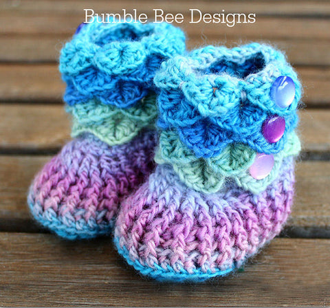 Crochet Crocodile Stitch Baby Booties Mermaid colours, Rainbow baby booties