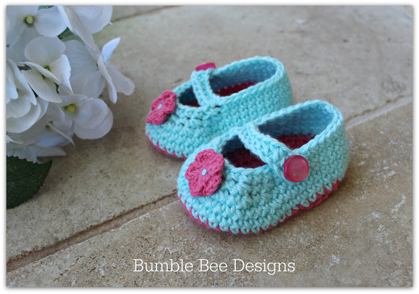 Crochet Cotton Bobble Baby Romper, size 3-6 months. Mary Jane booties in Soft Australian Cotton. Flower detail.