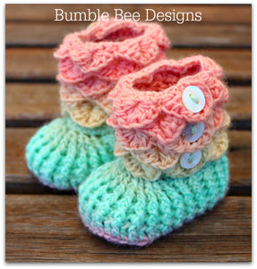 Crocodile Stitch Baby Booties That Stay On, Baby Slippers, New Baby Gift, Pastel Rainbow Booties