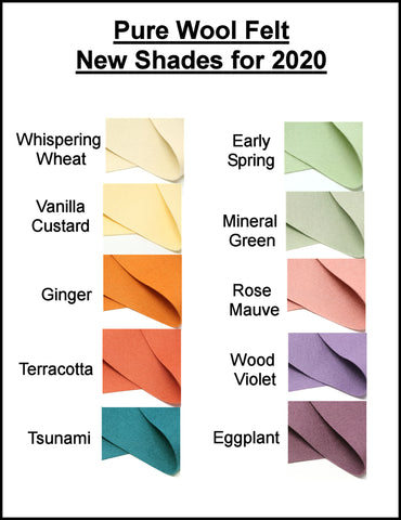 Pure Wool Felt - New Shades for 2020 - Australian Merino Wool - Choose your own color - 1 square