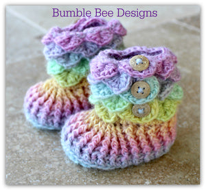 Crocodile Stitch Baby Booties That Stay On, Baby Slippers, New Baby Gift, Pink & Brown Rainbow Booties