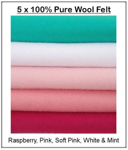100% Pure Wool Felt - Pink & Mint Shades - 5 squares