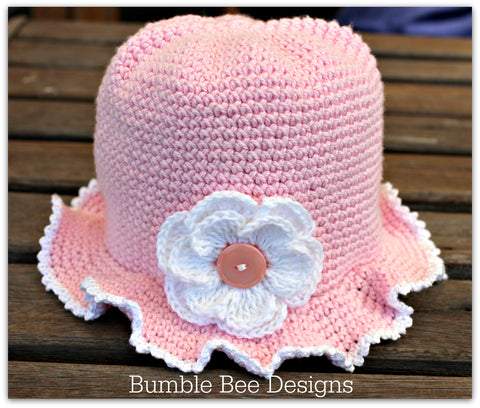 Baby Sunhat - Cotton Baby Girl Pink Bonnet Flower Hat - Crochet Summer Brimmed