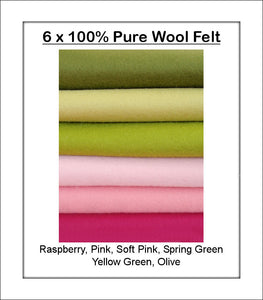 100% Pure Wool Felt - Pink & Green Shades - 6 squares