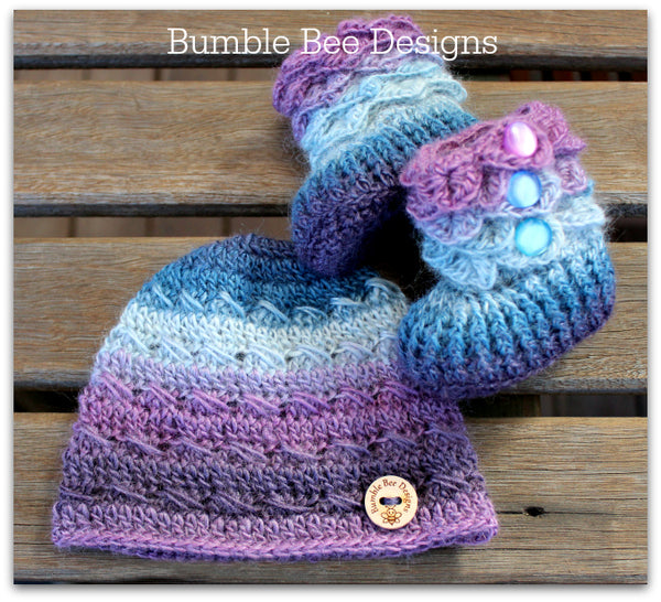 Baby Beanie - Baby Hat - Baby Booties - Baby Set in Pastel Rainbow colours
