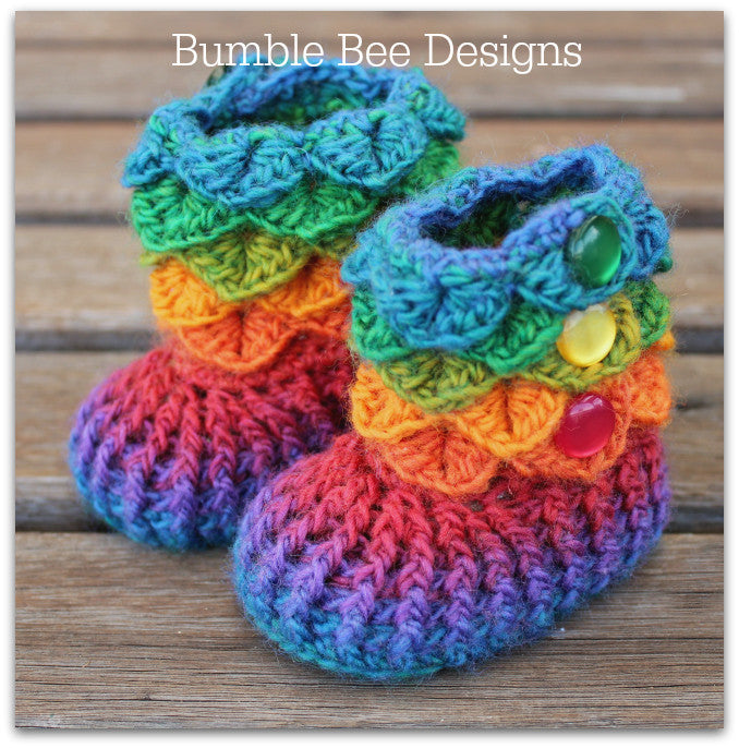 Crocodile Stitch Baby Booties That Stay On, Rainbow Booties, Baby Slippers, New Baby Gift, 0-6 months