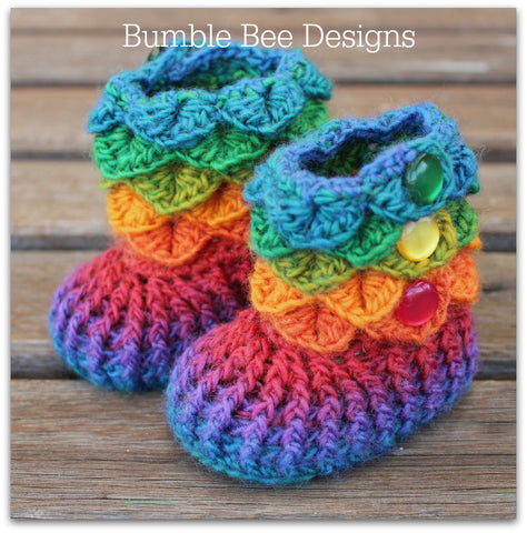 Crocodile Stitch Baby Booties That Stay On, Rainbow Booties, Baby Slippers, New Baby Gift