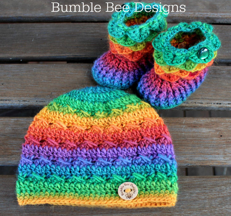 Baby Beanie - Baby Hat - Baby Booties - Baby Set in Rainbow colours