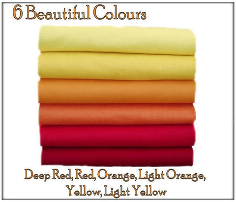Felt Chemical Free - 12 squares - Red, Orange & Yellow Shades