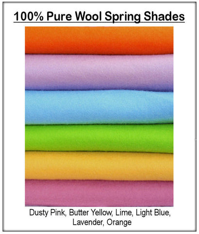 100% Pure Wool Felt - Spring Shades - 6 squares