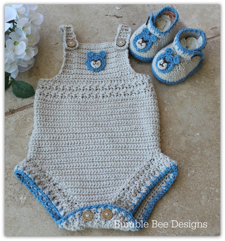 Crochet Cotton Baby Romper, Crochet Teddy Bear Baby Booties, Colour latte and blue, size 0-3 months. Soft Australian Cotton.