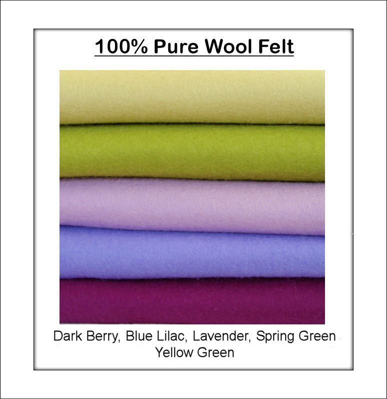 100% Pure Wool Felt - Purple & Green Shades - 5 squares