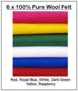 100% Pure Wool Felt - Winter Shades -6 squares