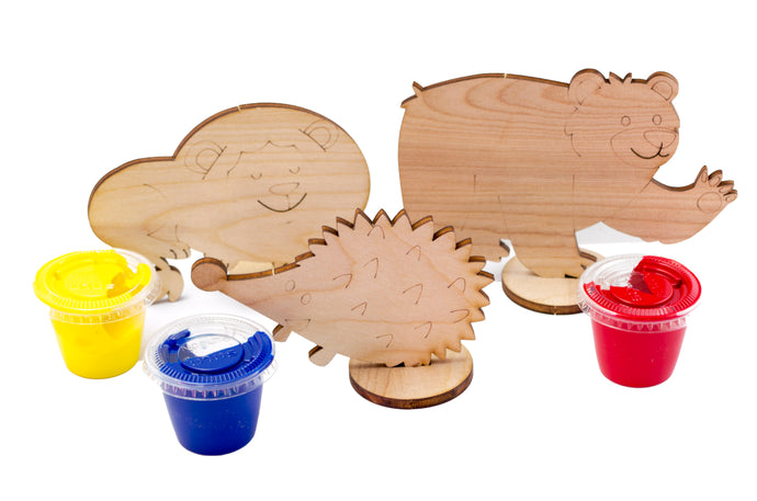 Wooden Animal non-toxic Finger Paint set