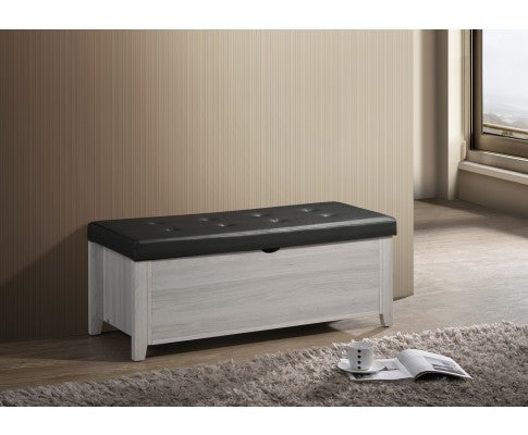 Blanket Box Ottoman Storage With Leather Upholstery - White Oak