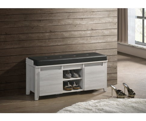 Bench Shoe Cabinet Leather Upholstery - White Oak