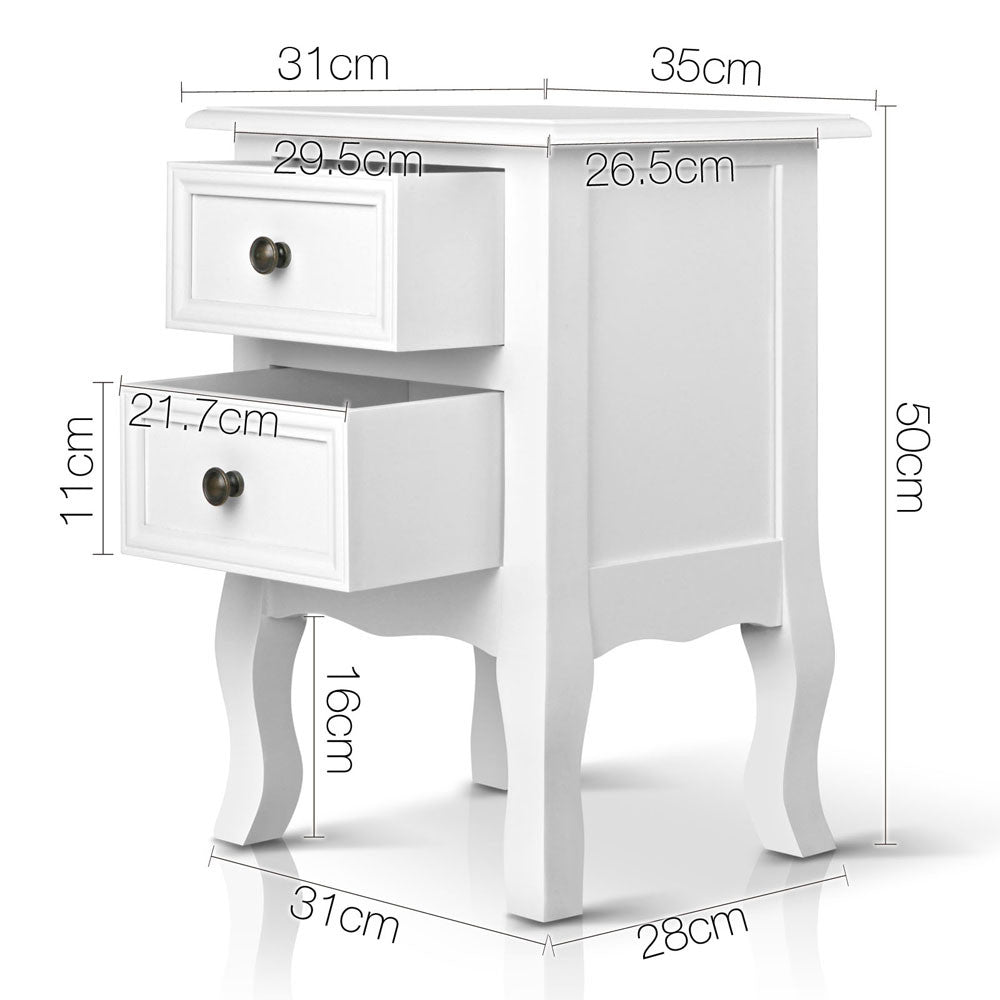 Vintage Style Bedside Side Table w/ 2 Drawers - White
