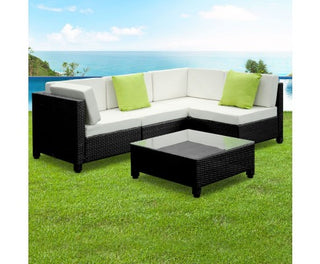 5 Piece PE Wicker Outdoor Sofa - Black & Grey