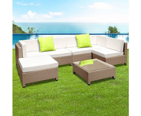 7pc Brown Wicker Rattan 6 Seater Outdoor Lounge Set Beige
