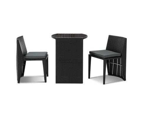 3-piece PE Wicker Outdoor Table & Chair Set