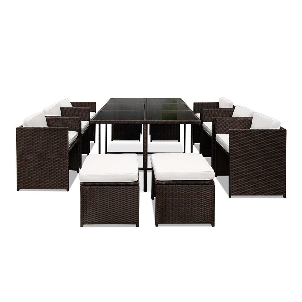 Capetown Dining 10 Seater Set – Brown & White