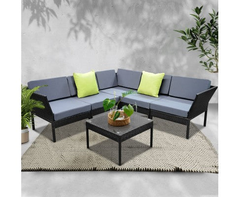 Stackable 6pc Black Wicker Rattan 5 Seater Outdoor Lounge Set - Grey