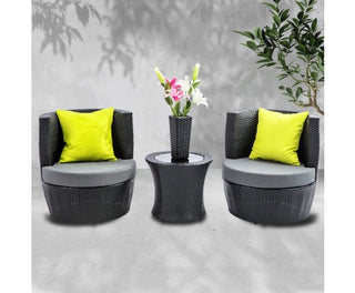 Stackable 4pc Black Wicker Rattan 2 Seater Outdoor Furniture Set - Grey
