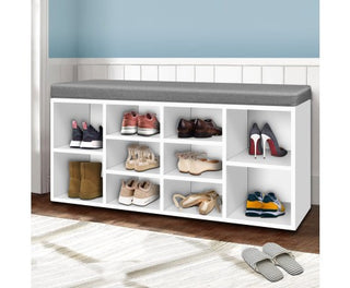 Fabric Shoe Bench w/ Storage Cubes