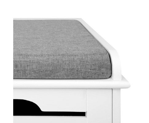 Fabric Shoe Bench w/ Drawers - White & Grey
