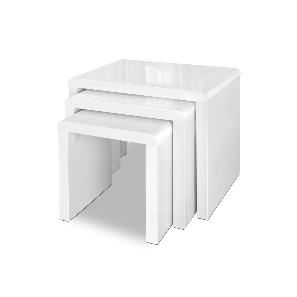 Set of 3 Nesting Tables - White