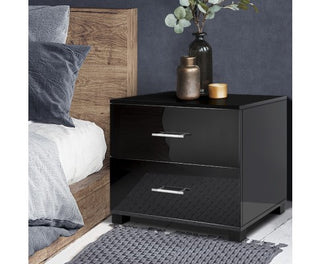 High Gloss Two Drawers Bedside Table - Black