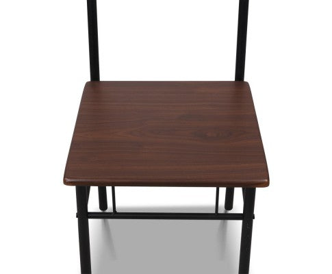 Industrial Dining Table & Chairs Set - Walnut & Black